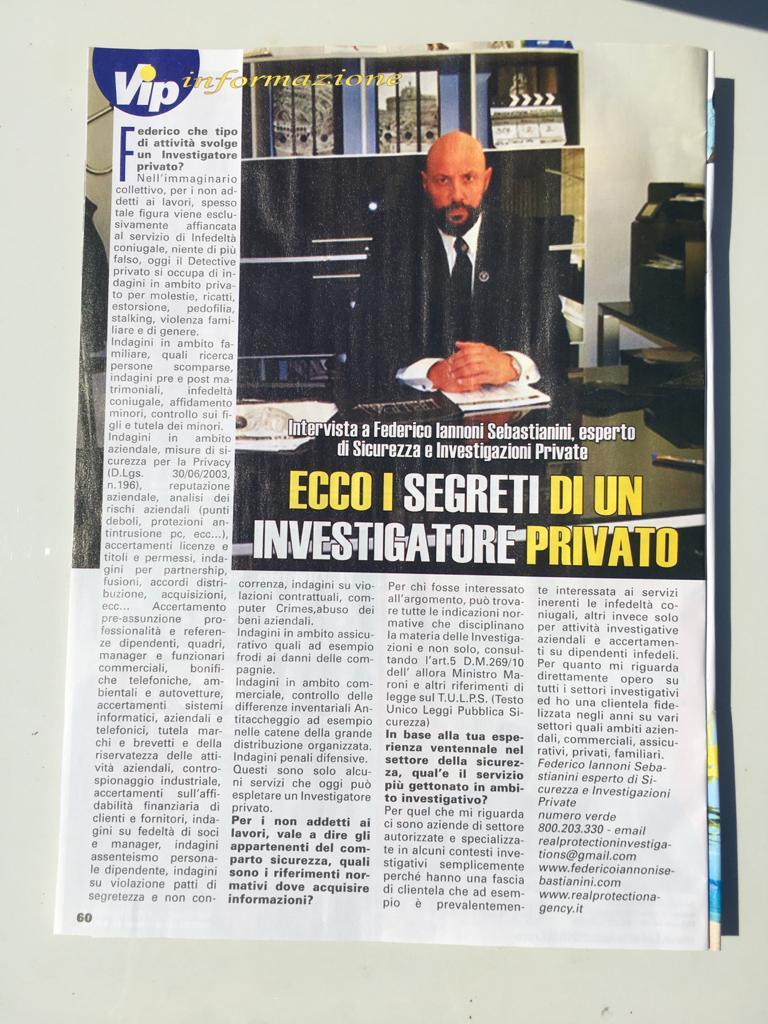 Intervista a Federico Iannoni Sebastianini su mensile VIP MESE su tematica #L'INVESTIGATOREPRIVATO (2)