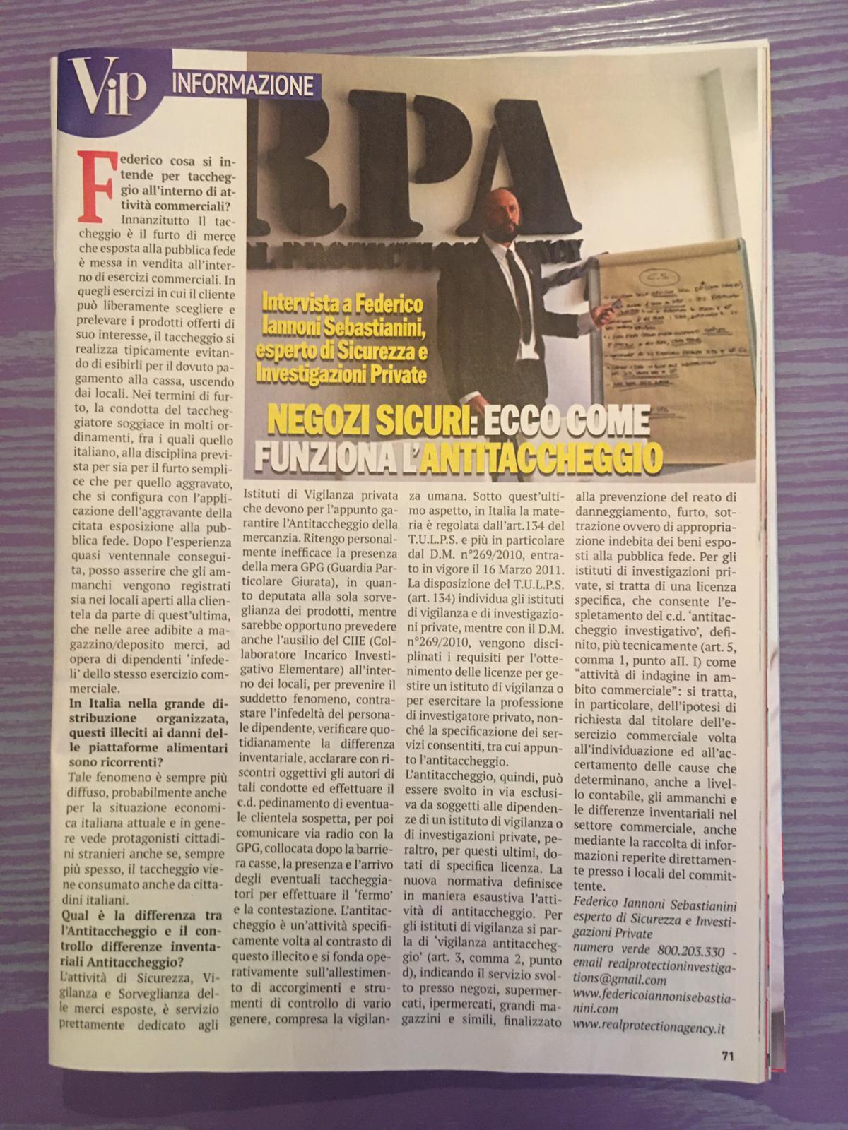 Intervista a Federico Iannoni Sebastianini su settimanle VIP su tematica #Antitaccheggio (3)