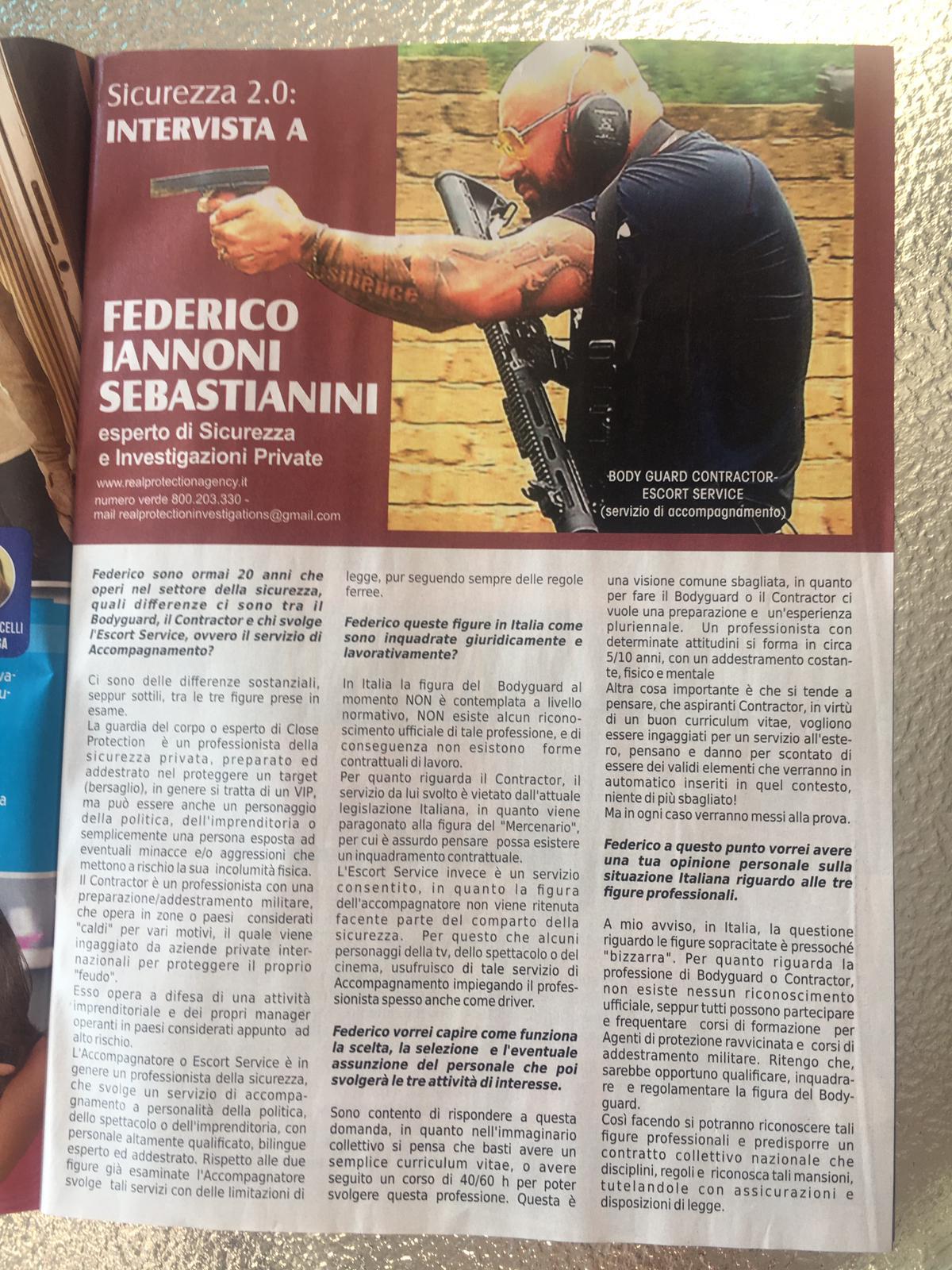 Intervista settimanale TUTTO su servizio #Bodyguard #Contractor #Escortservice (2)