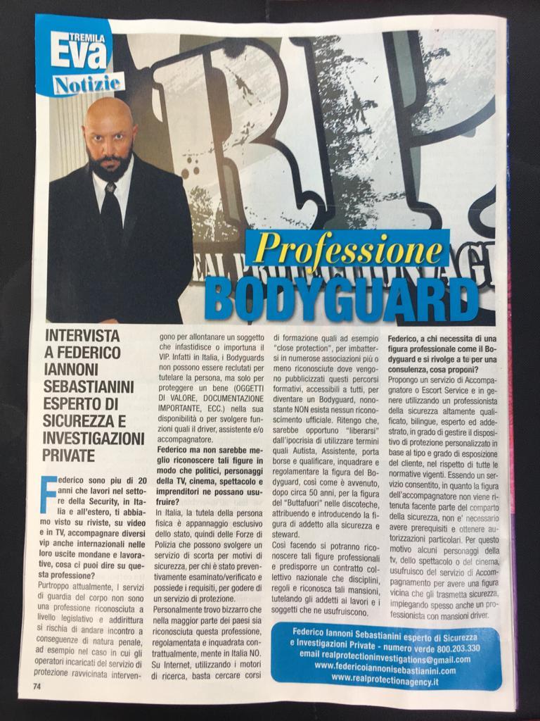 Intervista su mensile EVA Tremila, tematica trattata Professione Bodyguard (2)
