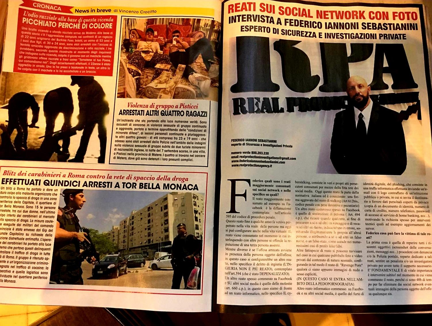 Intervista su settimanale ADESSO, tematica trattata Reati su Social Network (2)