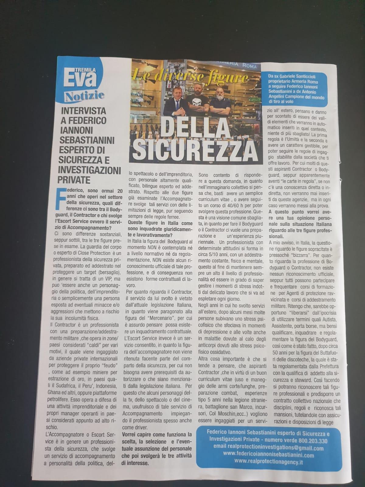 Intervista su settimanale Eva3000 tematica trattata il servizio #Bodyguard #Contractor #Accompagnatore (2)