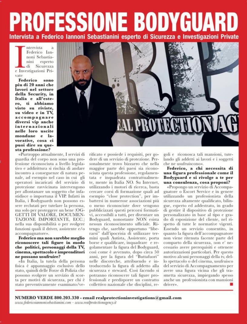 Intervista su settimanale ORA, tematica trattata Professione Bodyguard (2)